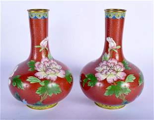A PAIR OF 1930S CHINESE CLOISONNE ENAMEL VASES Late