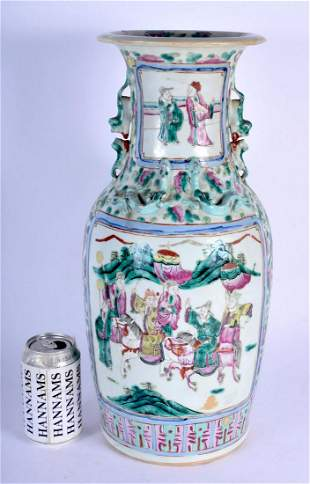 A LARGE 19TH CENTURY CHINESE CANTON FAMILLE ROSE VASE