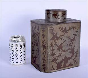 A RARE LARGE 19TH CENTURY PEWTER PAKTONG TYPE TEA CADDY