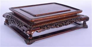 A 19TH CENTURY CHINESE CARVED HARDWOOD RECTANGULAR