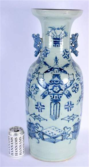 A LARGE 19TH CENTURY CHINESE CELADON BLUE AND WHITE