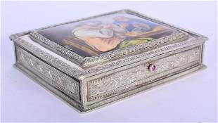 AN ANTIQUE CONTINENTAL SILVER AND ENAMEL BOX AND COVER