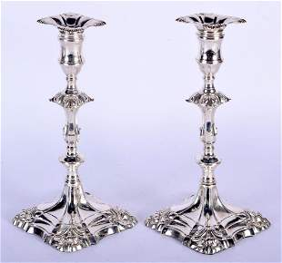 A MATCHED PAIR OF ENGLISH SILVER CANDLESTICKS. London
