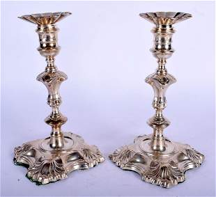 A MATCHED PAIR OF MID 18TH CENTURY ENGLISH SILVER