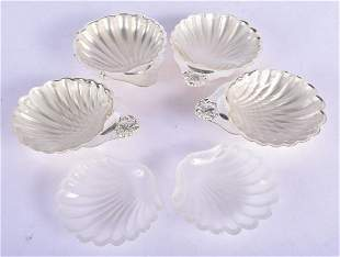 FOUR 1960S SILVER SHELL BUTTER DISHES. Birmingham 1966.