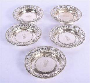 FIVE ANTIQUE CONTINENTAL SILVER OPENWORK DISHES. 341