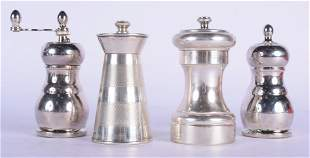 A CARTIER SILVER PEPPER POT together with an English
