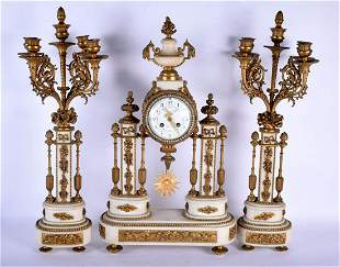 A LARGE MID 19TH CENTURY FRENCH MARBLE AND ORMOLU CLOCK