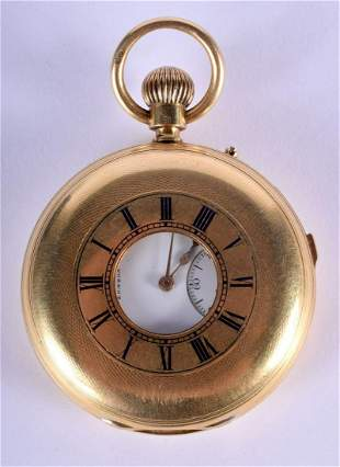 A FINE ANTIQUE 18CT YELLOW GOLD AND ENAMEL HALF HUNTER