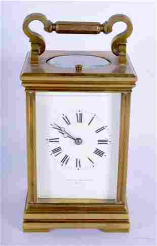 AN ANTIQUE FRENCH REPEATING CARRIAGE CLOCK. 15 cm high