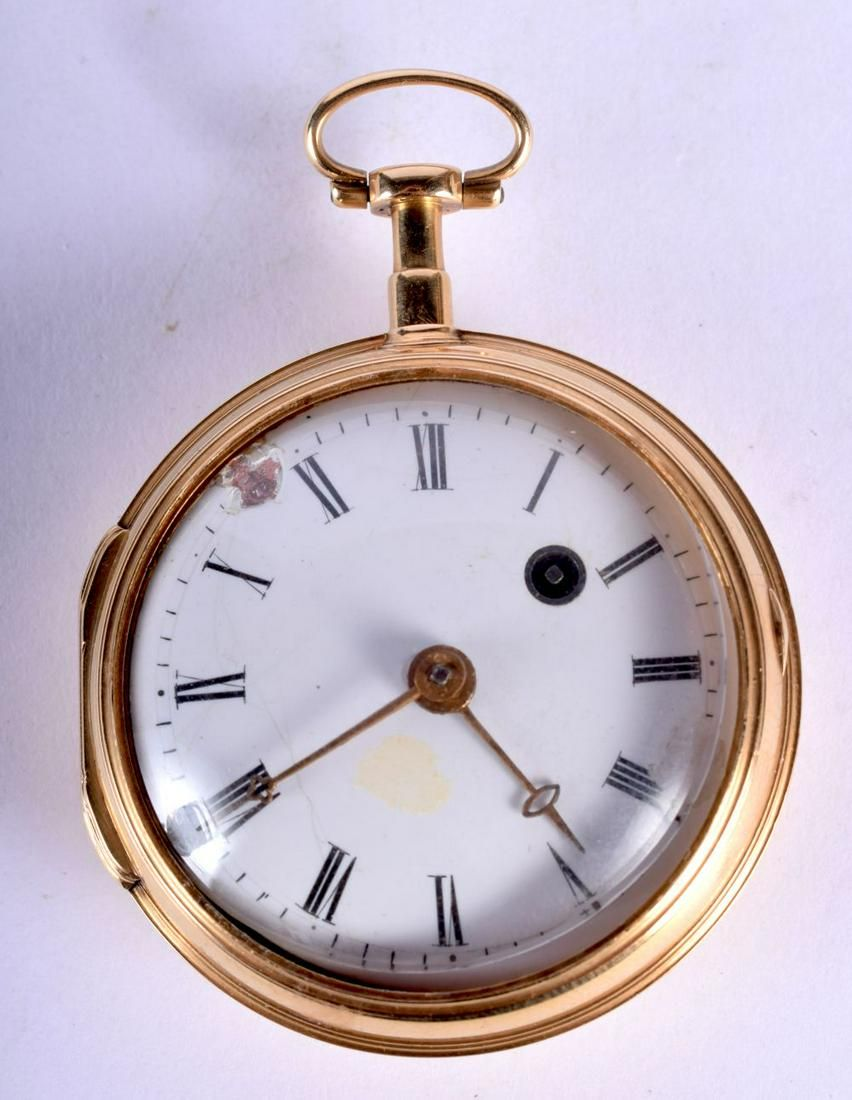 AN ANTIQUE 18CT GOLD POCKET WATCH. 91 grams overall.