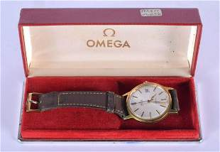 A BOXED GOLD PLATED OMEGA WRISTWATCH. 3.25 cm diameter.