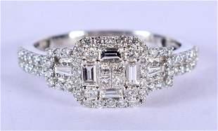 AN 18CT WHITE GOLD ILIANA DIAMOND RING. 5 grams. O.