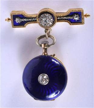 AN ANTIQUE 18CT GOLD DIAMOND ENAMEL PENDANT AND WATCH