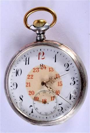 A SILVER OMEGA POCKET WATCH. 5 cm diameter.