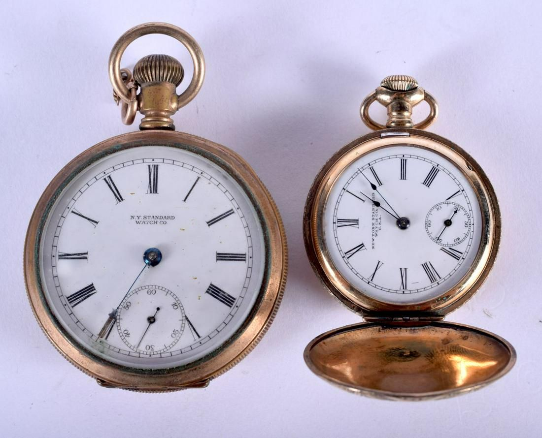 TWO VINTAGE AMERICAN YELLOW METAL POCKET WATCHES.