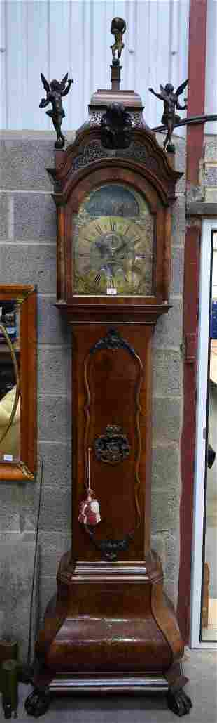 A GOOD 18TH CENTURY DUTCH WALNUT LONGCASE CLOCK by A &