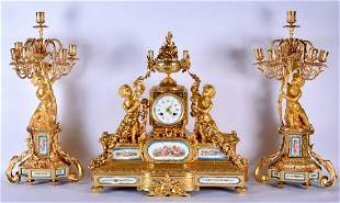 A VERY LARGE 19TH CENTURY FRENCH SEVRES PORCELAIN CLOCK