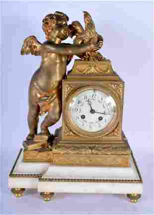 A MID 19TH CENTURY FRENCH GILT BRONZE AND MARBLE MANTEL