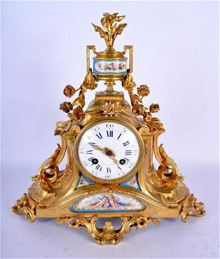 A 19TH CENTURY FRENCH GILT BRONZE AND SEVRES PORCELAIN
