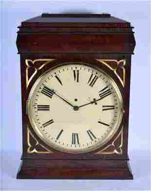 A LARGE ANTIQUE FUSEE BRACKET CLOCK with large circular