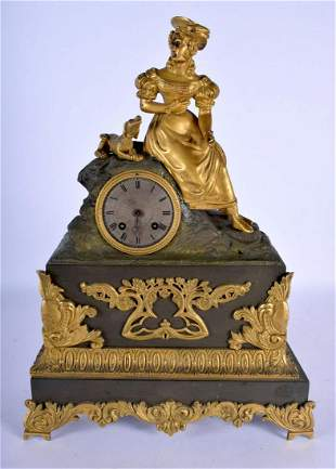 A 19TH CENTURY FRENCH BRONZE MANTEL CLOCK modelled as a