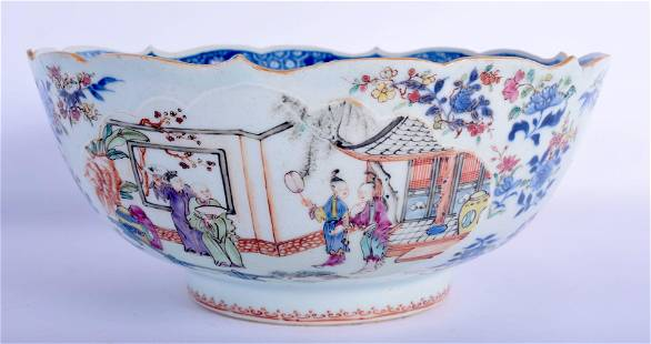 AN UNUSUAL 18TH CENTURY CHINESE EXPORT FAMILLE ROSE