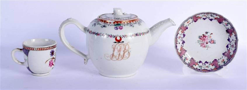 AN 18TH CENTURY CHINESE EXPORT FAMILLE ROSE TEAPOT AND