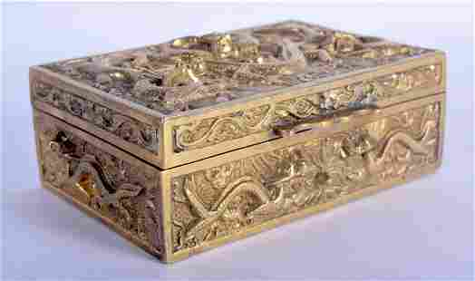 AN EARLY 20TH CENTURY CHINESE BRONZE DRAGON CASKET Late