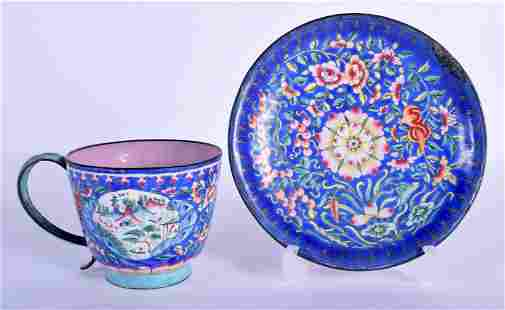 A RARE 19TH CENTURY CHINESE CANTON ENAMEL CUP AND