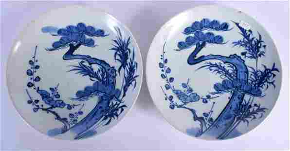 A PAIR OF 18TH CENTURY JAPANESE EDO PERIOD BLUE AND