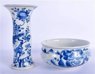 A 17TH/18TH CENTURY CHINESE BLUE AND WHITE GU FORM