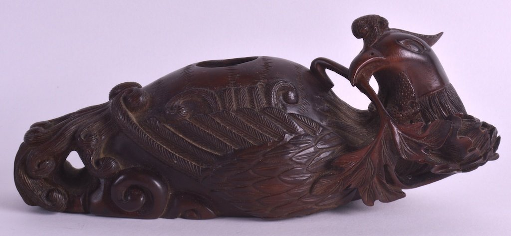 A CHINESE CARVED WOOD FIGURAL BRUSH WASHER C1950 in the