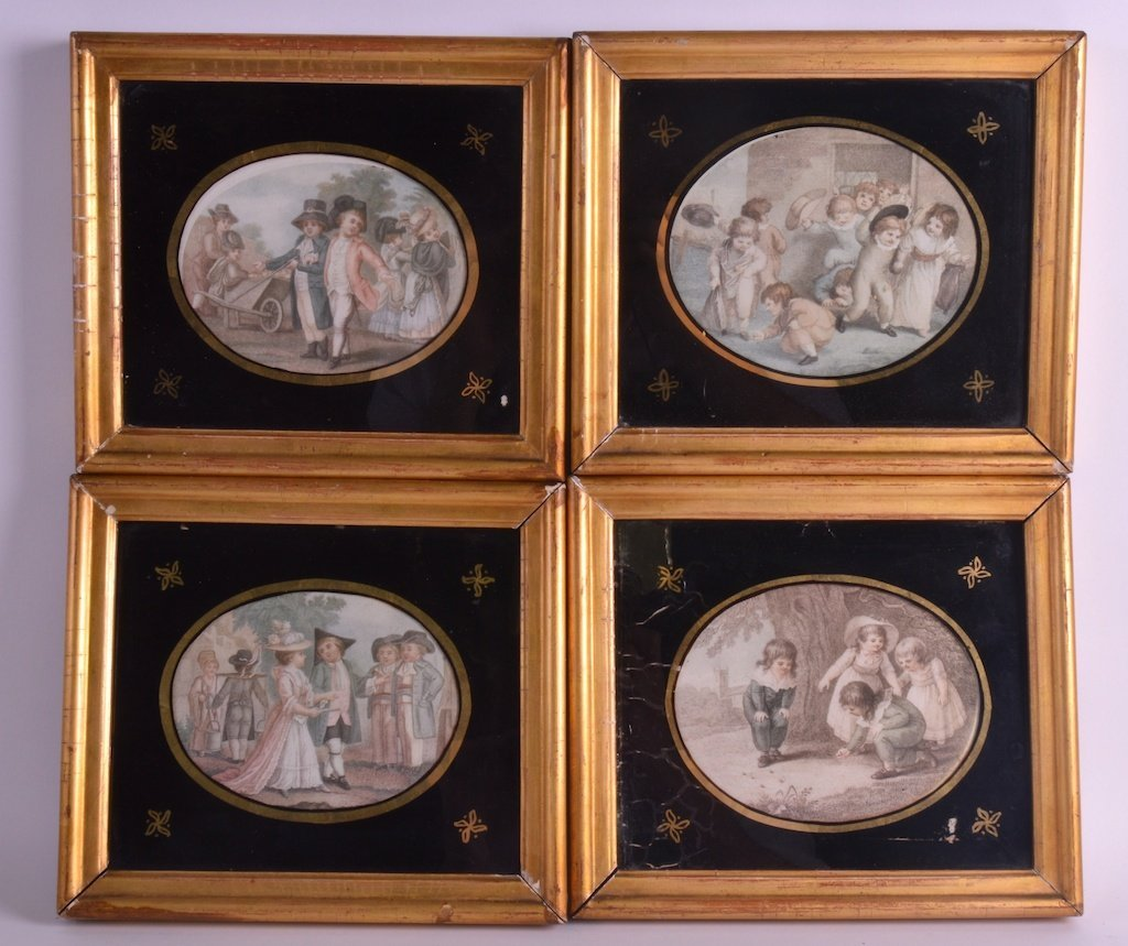 A SET OF FOUR 19TH CENTURY FRAMED OVAL PRINTS contained