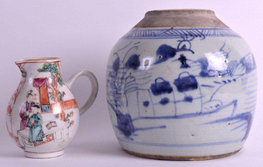 AN 18TH CENTURY CHINESE EXPORT SPARROWBEAK JUG