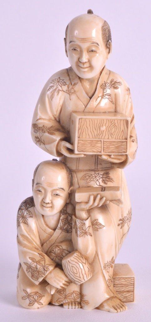A 19TH CENTURY JAPANESE MEIJI PERIOD IVORY OKIMONO well