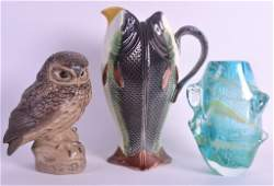 AN UNUSUAL POOLE POTTERY FIGURE OF AN OWL together with