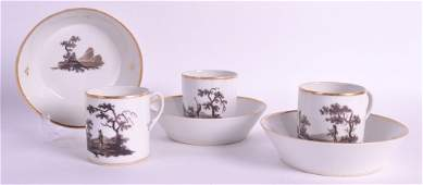 A SET OF THREE EARLY 19TH CENTURY PARIS PORCELAIN