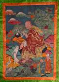 AN EARLY 20TH CENTURY SINO TIBETAN PAINTED THANGKA