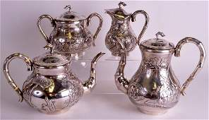 A FINE LATE 19TH CENTURY CHINESE EXPORT SILVER FOUR