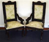A LARGE PAIR OF 19TH CENTURY CHINESE CARVED HARDWOOD
