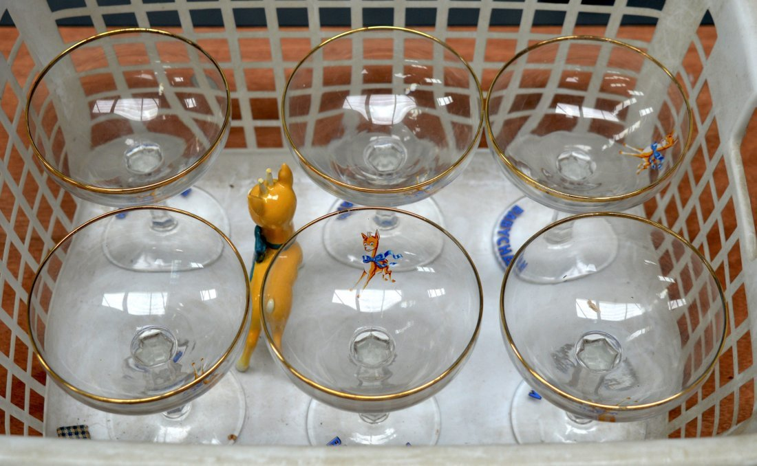 A SET OF SIX 1970S BABYCHAM GLASSES together with a