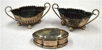 A PAIR OF VICTORIAN SILVER SALTS together with a