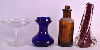 A BRISTOL BLUE TYPE VASE together with a lamp base,