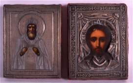 A PAIR OF EARLY 20TH CENTURY RUSSIAN SILVER ICONS