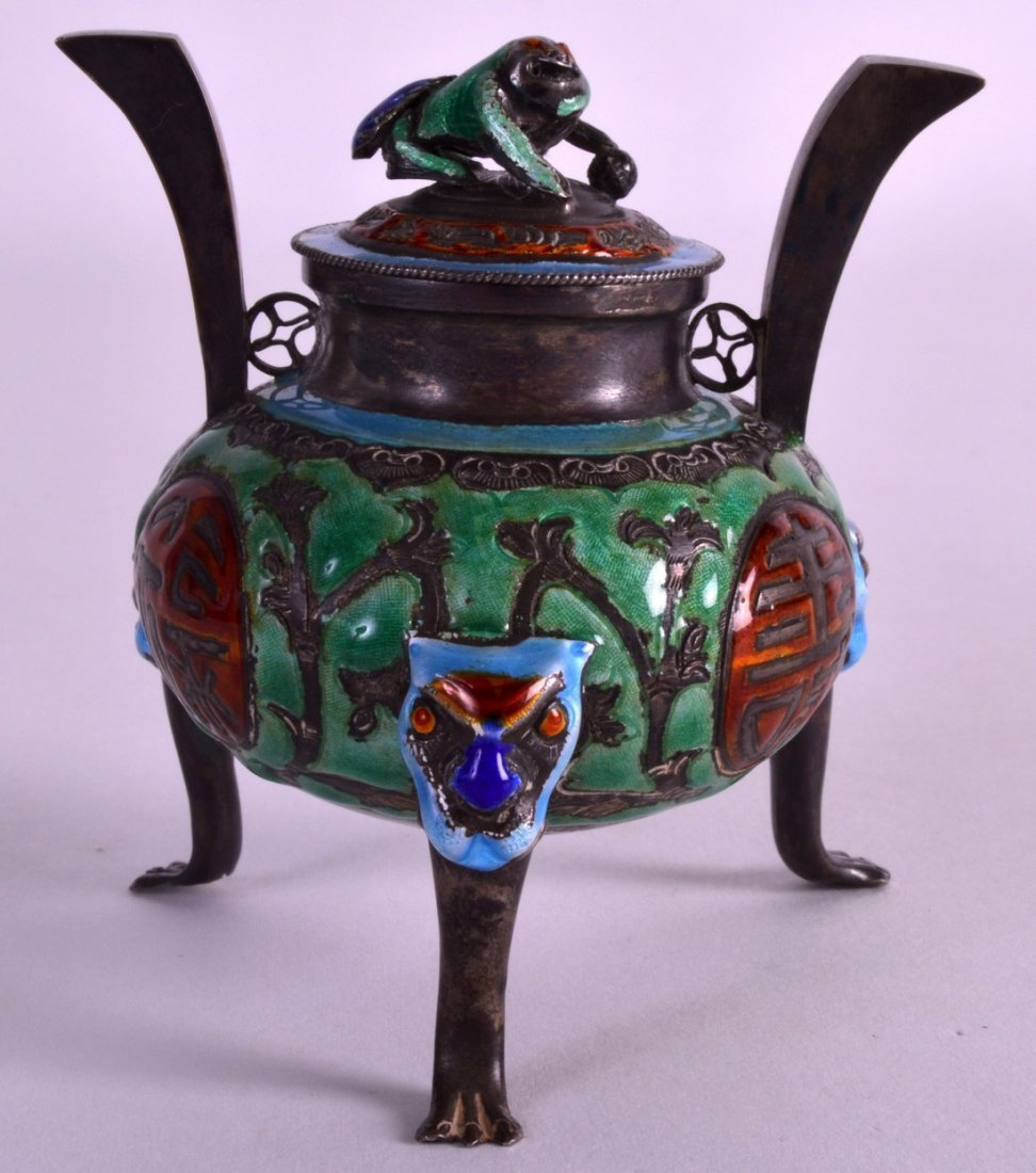AN EARLY 20TH CENTURY CHINESE SILVER AND ENAMEL CENSER