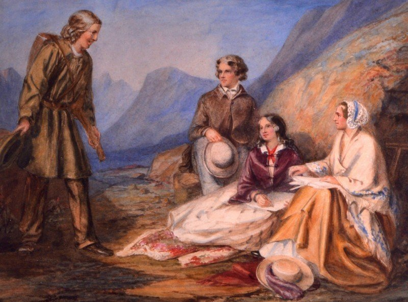 English School (19th Century) Watercolour, 'Meeting on