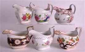 A GROUP OF FIVE 18TH/19TH CENTURY NEW HALL CREAM JUGS