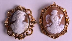 A VICTORIAN 15CT YELLOW GOLD CAMEO BROOCH together with