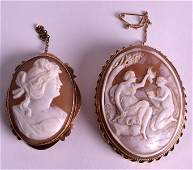 A VICTORIAN 9CT YELLOW GOLD CAMEO BROOCH together with